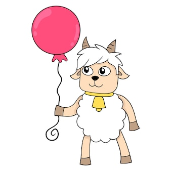 Sheep standing holding red balloons on birthday, vector illustration art. doodle icon image kawaii.