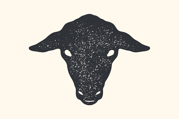 羊。ヴィンテージレトロプリント、ポスター、バナー。黒と白のシルエットの羊の頭