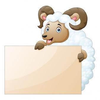 白い背景の空のボードと羊