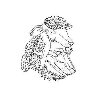 Sheep and wolf monoline badge design
