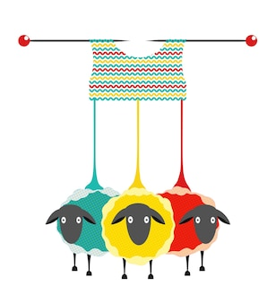 Sheep wool and knitting or crocheting hobby design knitting logo graphics