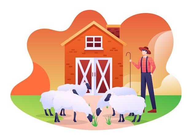 羊の折り畳みイラスト、羊、子羊、山羊などの家畜の納屋。