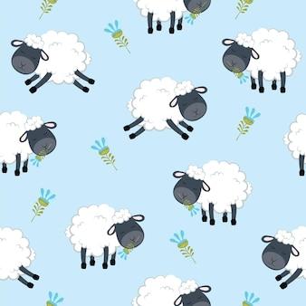 背景に分離された羊のベクトル図