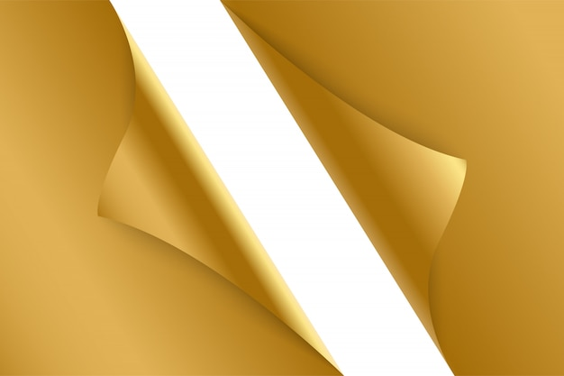 Sheet of curled gold paper background.