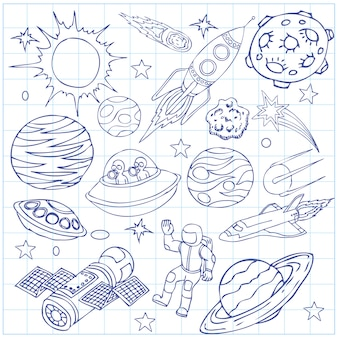 Sheet of exercise book with outer space doodles