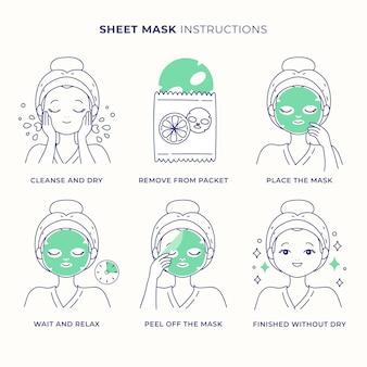 Set di istruzioni per la maschera del foglio