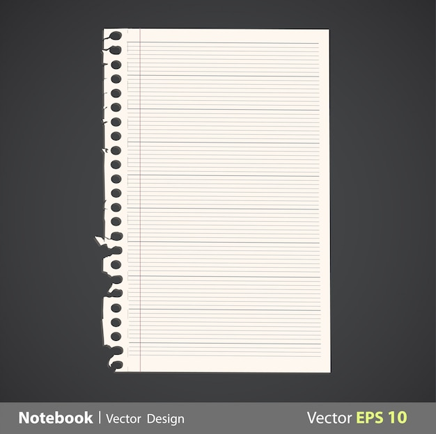 Sheet of notebook with linen