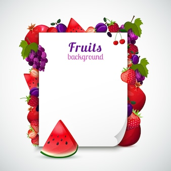 Sheet of paper decorated fruits
