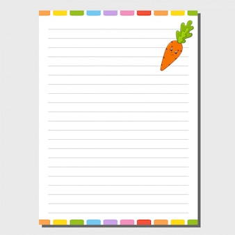 Sheet template for notebook, notepad, diary. funny character.