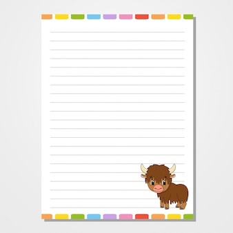 Sheet template for notebook, notepad, diary. with the image of a cute character. isolated vector illustration.