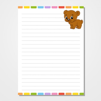 Sheet template for notebook, notepad, diary. with the image of a cute character.