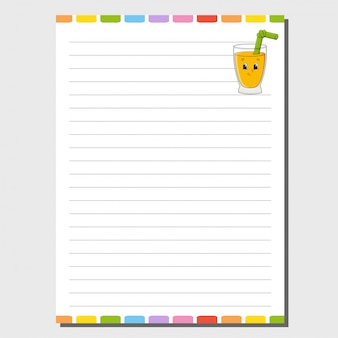 Sheet template for notebook, notepad, diary.
