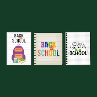 Sheets of notebook with back to school message