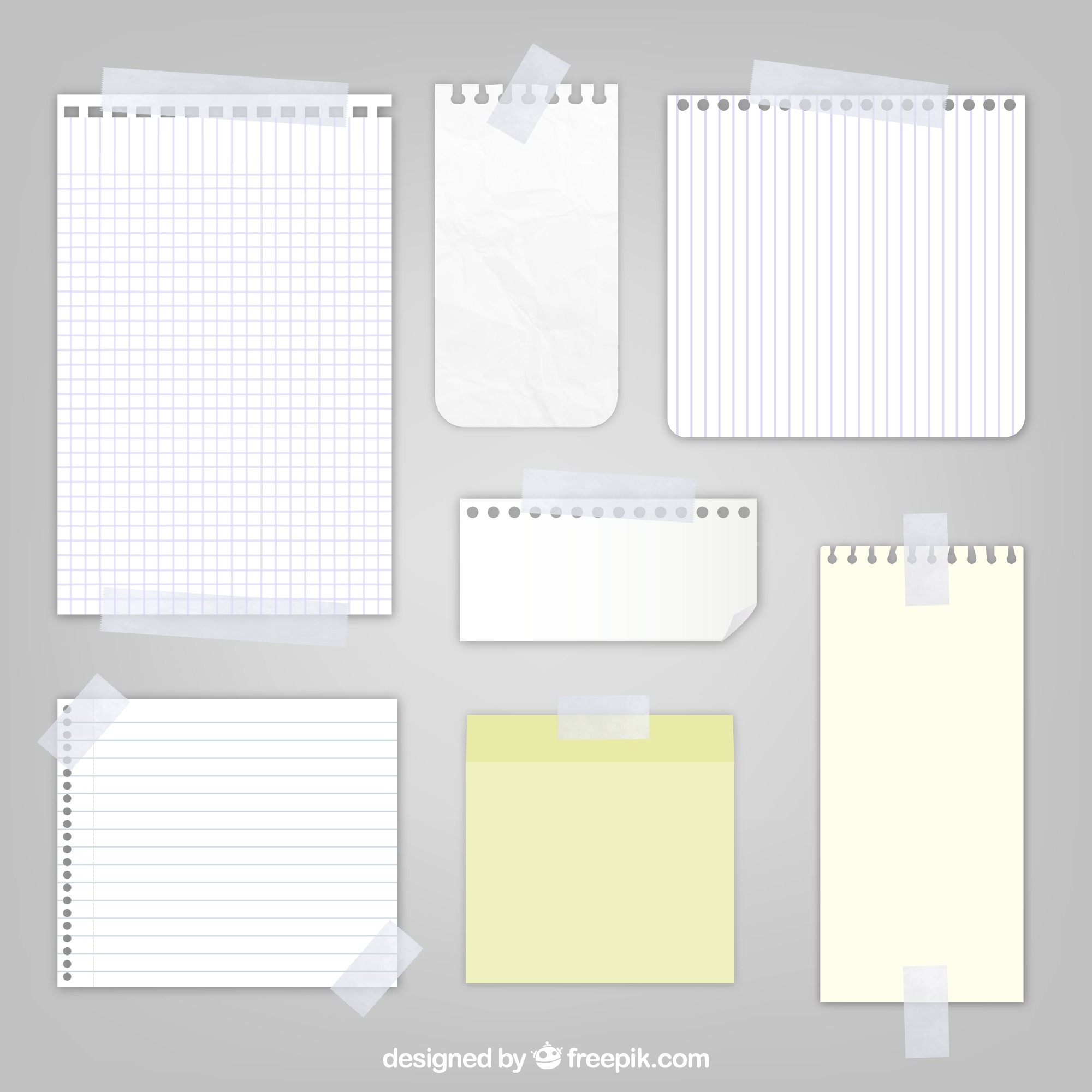 Sheets of paper with sticky tape