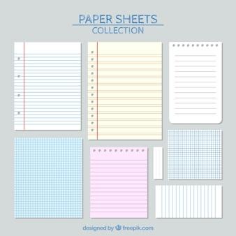 Fogli di carta con le linee impostate