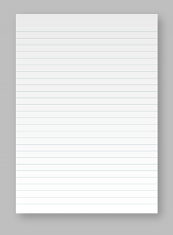 Sheets of square and lined paper from a block isolated on a gray background. realistic blank lined paper sheet with shadow.