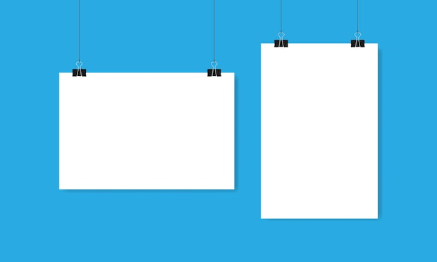 Sheets of white paper horizontal and vertical hang on clips and threads on blue background. vector illustration eps 10