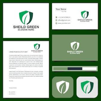 Sheild tree logo design and business card premium
