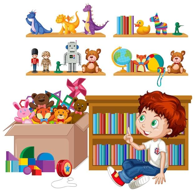 白い背景の上のおもちゃでいっぱいの棚とボックス