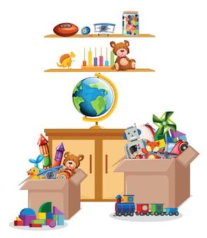 棚とボックスに白のおもちゃがいっぱい