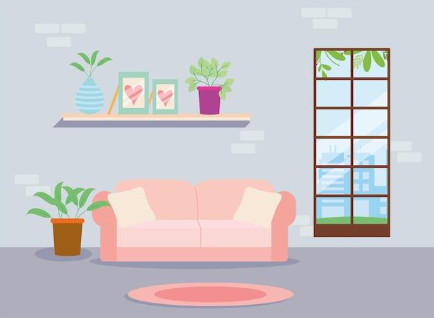 棚とピンクのソファのリビングルームのシーン