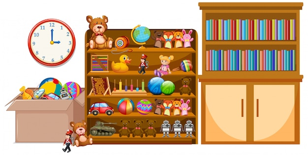 Shelf and bookshelfe full of books and toys