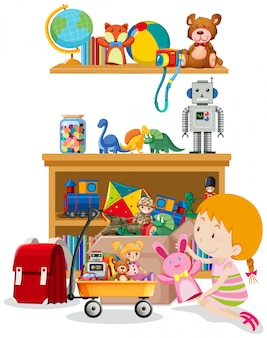 Shelf and box full of toys on white