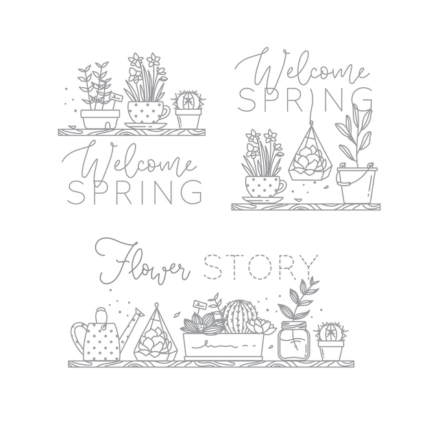 Shelf flat icon plants in pots lettering welcome spring