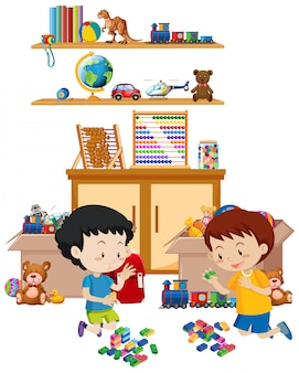 Shelf full of books and toys isolated Free Vector