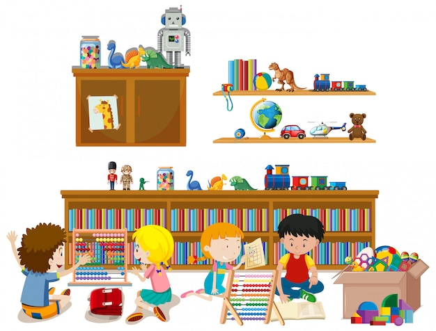 Shelf full of books and toys isolated