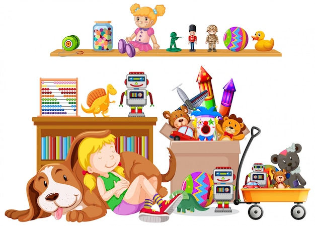Shelf full of books and toys on white