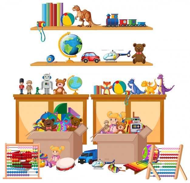 Shelf full of books and toys on white