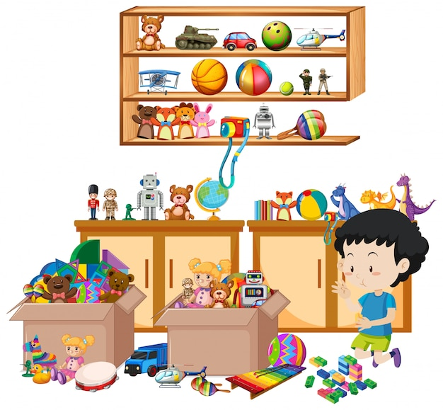 Shelf full of books and toys