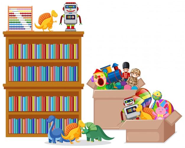 本やおもちゃの白い背景の上の棚