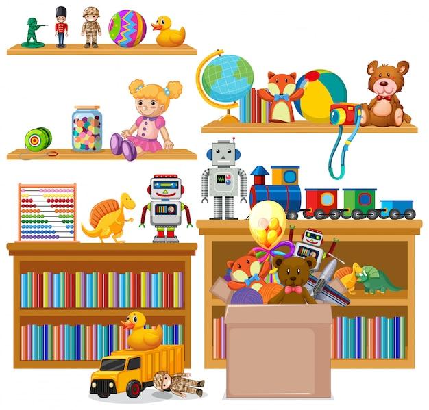 本と白のおもちゃの完全な棚