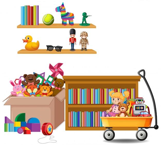 本と白のおもちゃでいっぱいの棚