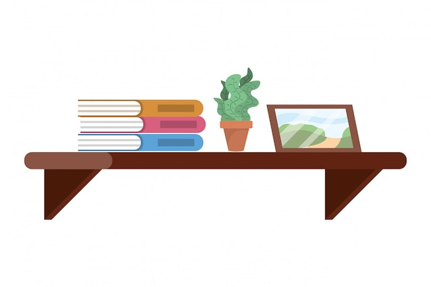 Shelf with book plant and picture