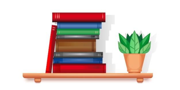 냄비에 책과 관엽식물이 있는 선반. 인테리어 아이템 나무 책장. 벡터 일러스트 레이 션 흰색 절연