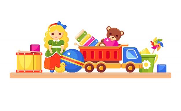 子供のおもちゃが付いている棚。