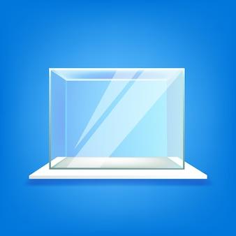Shelf with glass showcase on blue wall