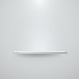 빛과 그림자 빈 흰색 벽에 선반. 삽화