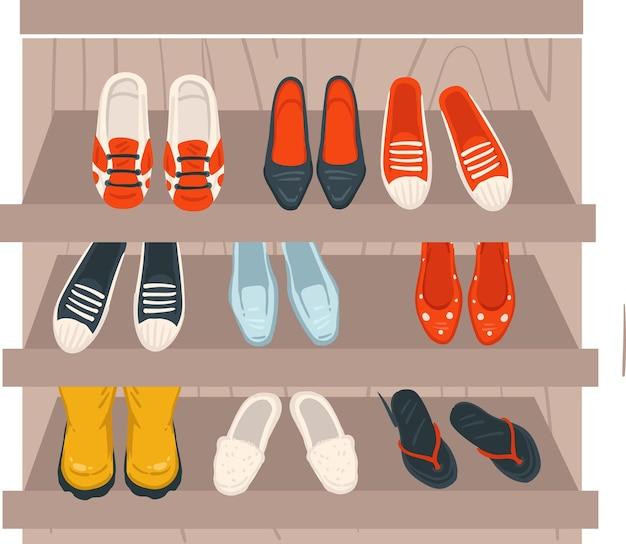 신발 스니커즈와 발 뒤꿈치가 있는 선반 상점 상점