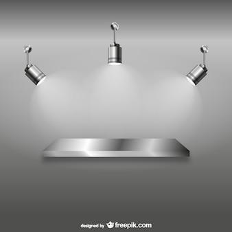 Shelf with spotlights