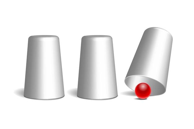 シェルゲーム。 3つの白い指ぬきと赤いボール。機器性能サーカスショー。チャンスと幸運の概念。ベクターイラストeps10
