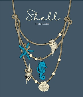 Shell necklace illustration
