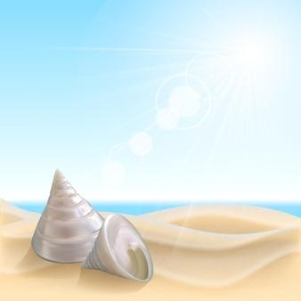 Ракушка на пляже. летние каникулы векторные иллюстрации
