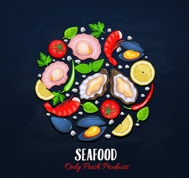 The shellfishes and vegetables Premium Vector