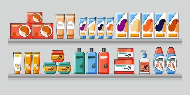Полки заполнены товарами для волос и косметикой. аптечный проход в супермаркете. векторная иллюстрация