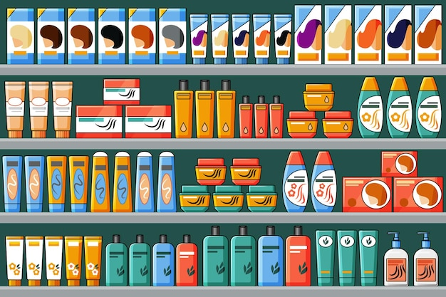 Полки заполнены продуктами для волос и красоты, шампунями, красками для волос. векторный фон в мультяшном стиле.