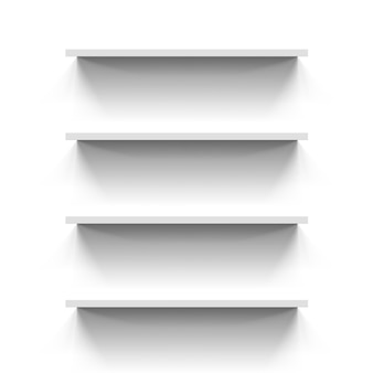 Shelves on white